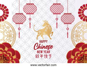 happy chinese new year lettering card with golden ox and lamps in gray background