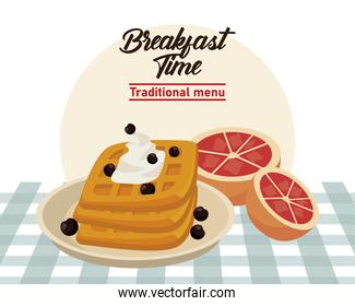 breakfast time lettering poster with breads and oranges