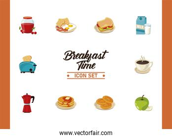 breakfast time lettering poster with bundle of ten ingredients