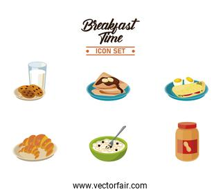 breakfast time lettering poster with bundle of six ingredients