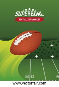 super bowl championship lettering in poster with ball and camp