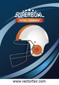 super bowl championship lettering in poster with helmet