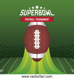super bowl championship lettering in poster with balloon