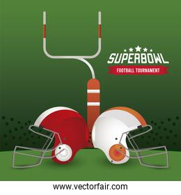 super bowl championship lettering in poster with helmets and arch