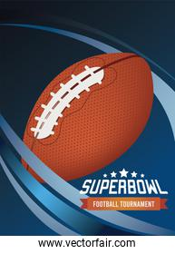 super bowl championship lettering in poster with balloon in blue background