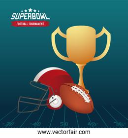 super bowl championship lettering in poster with trophy cup and helmet