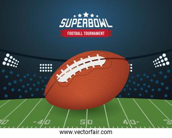 super bowl championship lettering in poster with balloon and stadium scene