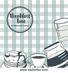 breakfast time lettering in circular frame poster with ingredients in table clothes