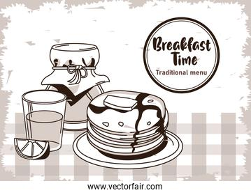 breakfast time lettering in circular frame poster with orange juice and pancakes