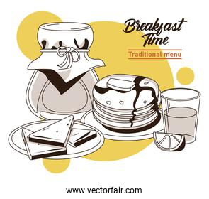 breakfast time lettering poster with sandwiches and ingredients