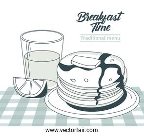 breakfast time lettering in circular frame poster with orange juice and pancakes in table