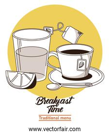 breakfast time lettering poster with orange juice and coffee