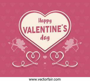 happy valentines day lettering card with heart and cupid angels