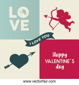 happy valentines day lettering card with cupid angel and heart