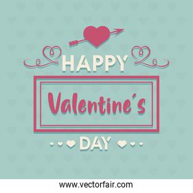 happy valentines day lettering card with heart and arrow