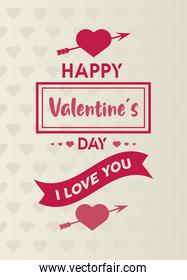 happy valentines day lettering card with arrows in hearts and ribbon