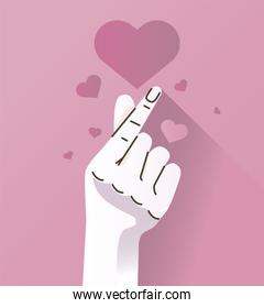 hand human easy symbol gesture with hearts