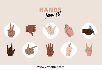 bundle of hands humans symbols gestures icons and lettering