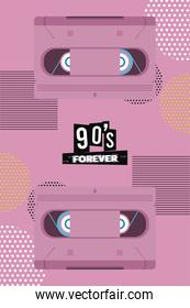 90s forever lettering with cassette in pink background