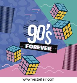 90s forever lettering with Rubik Cube abstract background