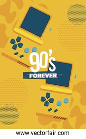 90s forever lettering with video games portables yellow background