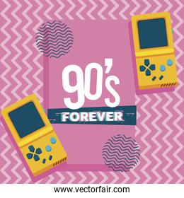 90s forever lettering with video games portables in pink background