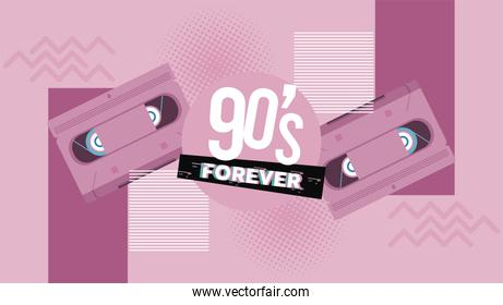 90s forever lettering with cassettes in pink background