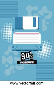 90s forever lettering with floppy disk in blue background