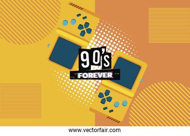 90s forever lettering with video games portables in yellow background