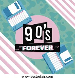 90s forever lettering with floppy disks in abstract background