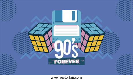 90s forever lettering with rubik cubes and floppy in purple background