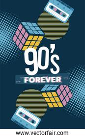 90s forever lettering with cassettes and rubik cubes in blue background
