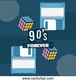 90s forever lettering with cubes rubik and floppy disks in blue background