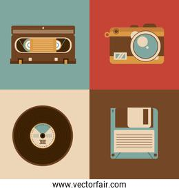 bundle of four retro  icons