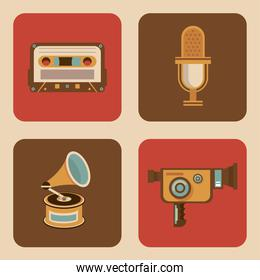 bundle of four retro set icons