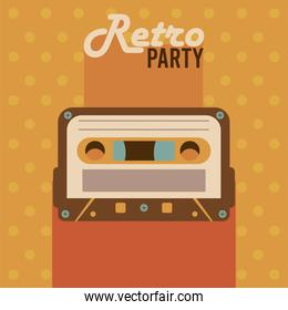 retro party lettering poster with cassette