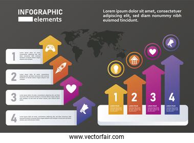 statistics infographics steps with arrows up in black background