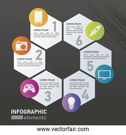 statistics infographics steps with rhombus figures in black background