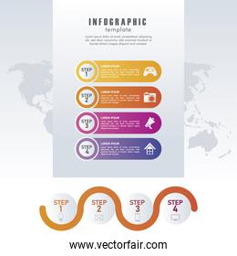 statistics infographics steps with earth maps in gray background