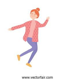 cartoon woman wearing casual clothes, colorful design