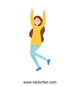 happy girl wearing striped yellow sweater and jeans, colorful design