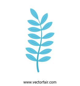 icon of blue branch with leaves, colorful design