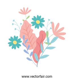floral design with beautiful flowers and leaves, colorful design