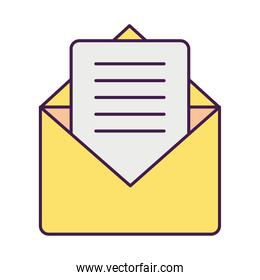 envelope and card icon, flat style