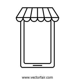 smartphone with shoping tent, line style