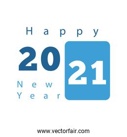 happy new year celebration lettering in blue background