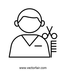 profession worker barber avatar line style icon
