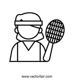 tennis player profession worker avatar line style icon