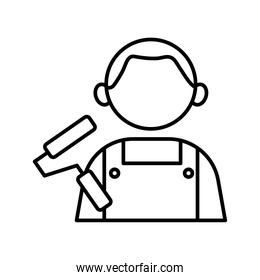 profession painter worker avatar line style icon