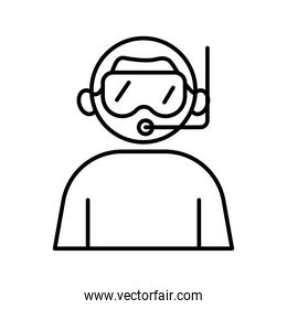 profession diver worker avatar line style icon